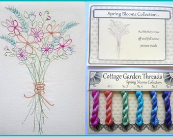 Cottage Garden Threads - Spring Blooms - Stitchery Kit