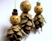 Miniature Ornaments - Small Pine Cones - Wood bead - Rope - Christmas Ornament - Cute Ornament Doll