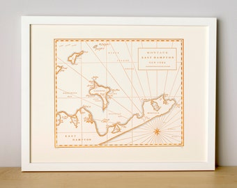 Montauk, East Hampton NY, Letterpress Printed map (Terra Cotta)