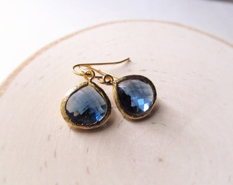 Gold Birthstone Earrings, Dangle Earrings, Bridesmaid Gift, Wedding Jewelry, Gold Bridesmaid Earrings, You Choose Color, Birthstone Jewelry
