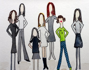 Inspirational illustration with watercolor, group of women, office workers, play it safe, grays and backs, pen and ink