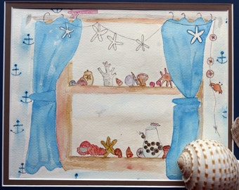 Shell Collector, original watercolor, sea shells, beach, bathroom art, blue and pink, summer, window sill, anchors, whimsical