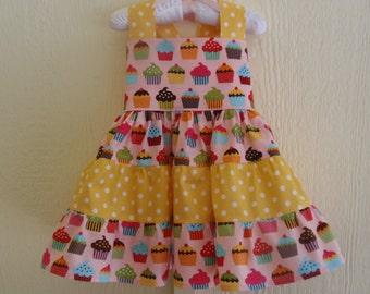 Girls 1st Birthday Dress, Girls Cupcake Dress, First Birthday Dress, Polka Dots, Pink and Yellow Birthday Dress by Hopscotch Avenue