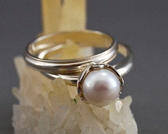 Evlin WS - pearl ring, engagement ring, wedding ring set, statement ring, Continuum Silver, white pearl, wedding set