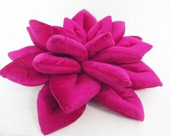 decorative rich pink Lotus flower velvet pillow-flower pillow-home decor-16x16-throw pillow-meditation pillow- designer accent pillow.