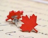 Red Maple Leaf Earrings / Woodland Forest Inspired Studs / Fall Fashion, Autumn Trends, Canada Jewelry