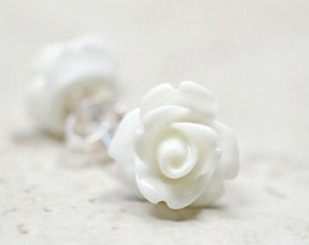 Bright White Rose Earrings / Neutral Flower Studs, Stainless Steel Post Earrings, Sensitive Ears Jewelry