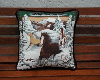 Horse Throw Pillows, Horse's Pillows, Hunter Green Velvet Pillows, Trimmed Pillows, Luxury Pillows, Horse Accent Pillows