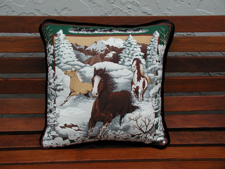Decorative Pillows Horses : Horse Throw Pillows Horse s Pillows Hunter Green Velvet