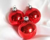 Three Red Shiny Brite Christmas Ornaments