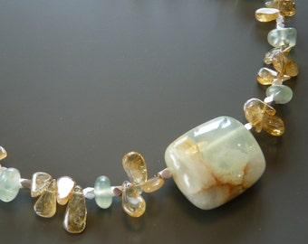 Citrine and prehnite necklace with polished prehnite stone