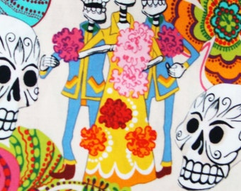 """LOS NOVIOS Day of the Dead Halloween Gothic Pattern Fabric, Cotton Fabric , 18"""" X 44"""", 1 /2 Yard, New, Rare"""