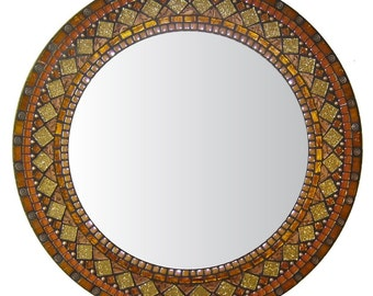 Orange Mosaic Wall Mirror - Heirloom Collection