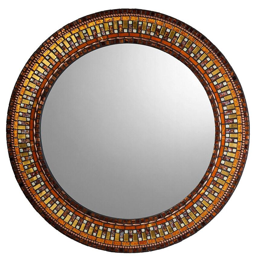 Gold brown copper mosaic mirror for Mosaic mirror