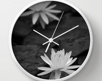 Wall Clock, Nature Clock, Flower Clock, Floral Clock, Water Lily, Black and White, 10 inch Clock