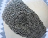 Crochet Head Band or Ear Warmer with Flower Embellishment, Charcol Grey