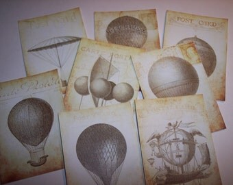 Hot Air Balloon Steampunk Journaling Tags set of 8