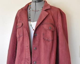 Red XL Denim JACKET - Oxblood Brick Red Dyed Upcycled Talbots Denim Trucker Blazer Jacket - Adult Women Plus Size Extra Large (50 chest)