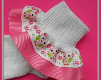 Owls and Flowers girls Double Ruffle Socks -  you customize by picking bottom ribbon color