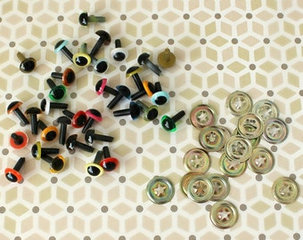 7.5mm Craft, Safety, Animal Eyes Coloured - 10 Pairs