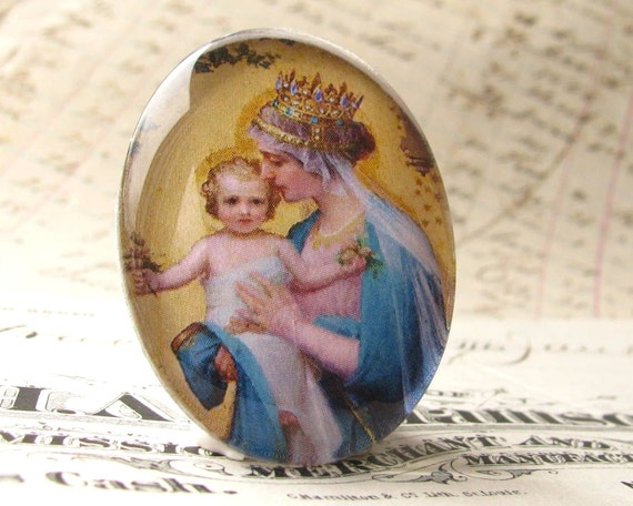 """Handmade """"Madonna and Child"""" 40x30 mm glass oval cabochon, 40x30mm 30x40mm, yellow, blue, motherhood, Christmas, religious icon"""