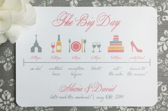 Printable Wedding Itinerary The Big Day by ThatPrettyInvitation