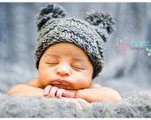 Newborn Baby Hat, Checker Head Hat, Medium Grey or Pick your Color