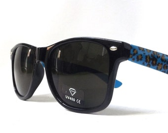 vintage 1990's wayfarer sunglasses blue black leopard print frames black lenses sun glasses mens women eyewear fashion retro accessories NOS