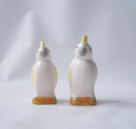 Vintage Cockatiel Bird Salt And Pepper Shakers White Yellow