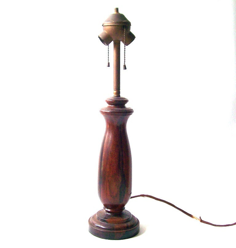 T & S Brass >> vintage antique old 1900's wood table lamp by RecycleBuyVintage