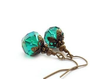 Teal Blue Earrings -  Vintage Style Drop Earrings - Retro Antiqued Bronze Details - Victorian Earrings