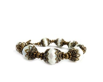 White Boho Bracelet - Vintage Inspired Jewelry - Antiqued Bronze - Handmade Beaded Layering Bracelet