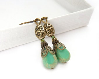 Turquoise Earrings -Downton Abbey Style Picasso Glass Earrings - Bronze Earrings - Romantic Petite Earrings