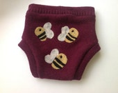 Bees  - Recycled Sweater Wool Diaper Cover Size L