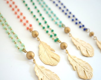 Long Gold Feather Necklace - Pick Your Color, Long Beaded Necklace, Layering Necklace, Beaded Rosary Chain Necklace, Boho Necklace