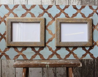 Rain Quatrefoil on Raw English Wood Double 5x7 Rustic Distressed Frame