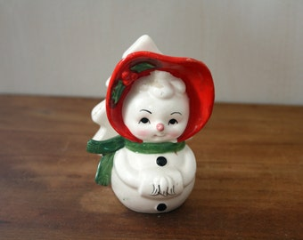 Vintage Ceramic Snowman Woman Holiday Napkin Holder