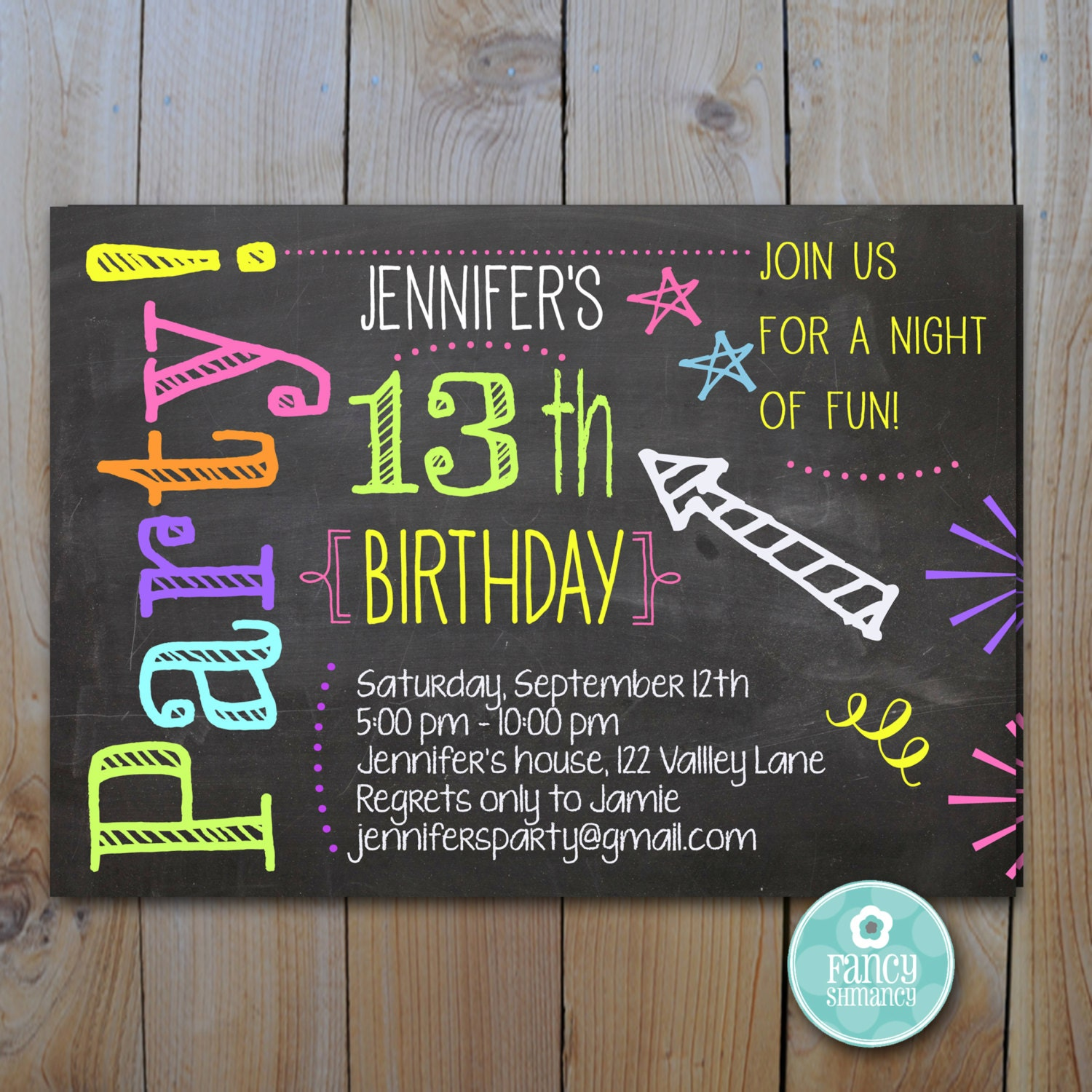 Chalkboard Invitation / Teen Birthday Neon Colors / Laser Tag