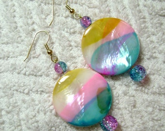 Shell Earrings - Earrings - Cotton Candy - Dangle Earrings E62
