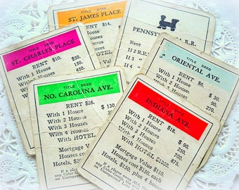 Vintage Monopoly Game Cards - Perfect for Scrapbooking