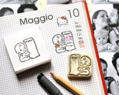 Baby care diary hand carved rubber stamp - Memo stamp