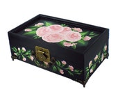 Classic Hand Painted Jewelry Box - Elegant Pink Sweetheart Roses Painted Mirror, 2 Trays - Hand-Painted Bridal Jewelry Wedding Keepsake Box