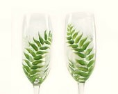Custom Order for L: Set of 2 Hand-Painted CRYSTAL Champagne Flutes - Rustic Green Ferns, Personalized - Woodland Wedding Glasses