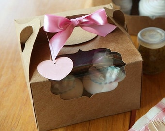 5 window cupcake boxes in kraft and white (4hd type)