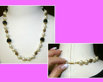 Vintage White Pearl Necklace, Black Faceted Beads, Gold tone Rose Beads, 1970's 1980's