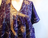 vintage. 70s Blue Cotton Caftan  // Moroccan Dress // S to L