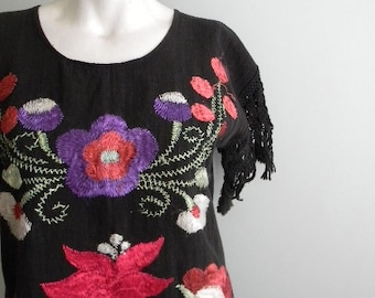 vintage.  60s Black Embroidered Top with Fringe Sleeves  // S to M // UNIQUE Handmade