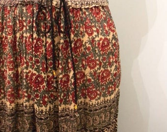 vintage. Indian Gauze Rayon Drawstring  Mid Full Skirt / India / One Size fits All