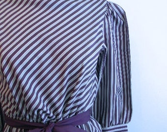 vintage. 70s Purple and Gray Striped Sheer Dress // S to M