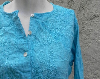 vintage. Turquoise Cotton Indian Tunic // M